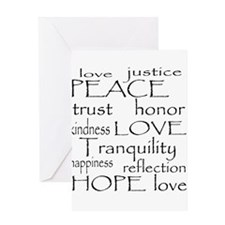 Peace Trust Justice Love Greeting Card