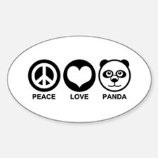 Peace Love Panda Oval Decal
