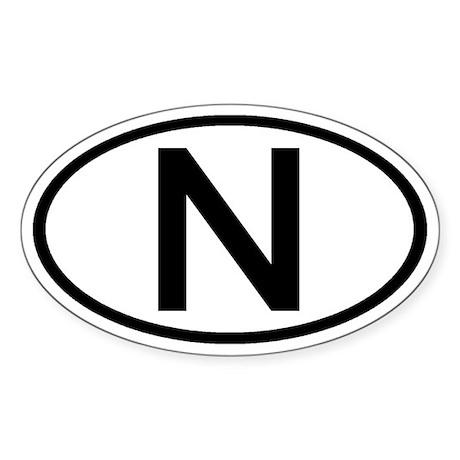 Norway - N - Oval Oval Sticker