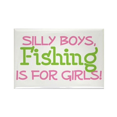 FISHING IS FOR GIRLS Rectangle Magnet (100 pack)