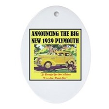 """""""1939 Plymouth Ad"""" Oval Ornament"""