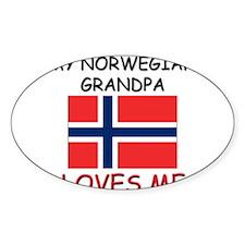 My Norwegian Grandpa Loves Me Oval Decal