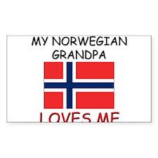 My Norwegian Grandpa Loves Me Rectangle Decal