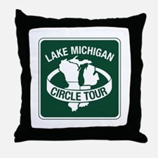 Lake Michigan Circle Tour, Wisconsin Throw Pillow