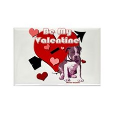 Valentines Day Pit Bull Pup Rectangle Magnet