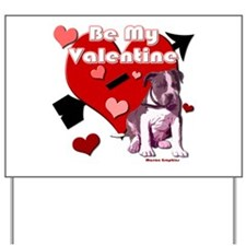 Valentines Day Pit Bull Pup Yard Sign