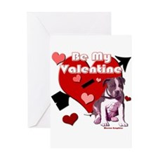 Valentines Day Pit Bull Pup Greeting Card
