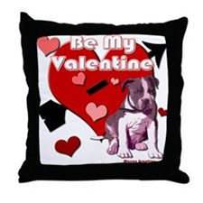 Valentines Day Pit Bull Pup Throw Pillow