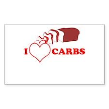 I Heart Carbs Rectangle Decal