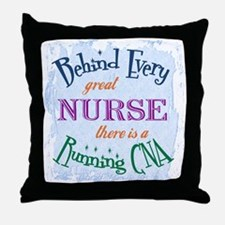 Behind Nurse, Running CNA Throw Pillow