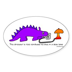 Confused Dinosaur Oval Decal