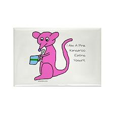 Pink kangaroo eating yogurt Rectangle Magnet