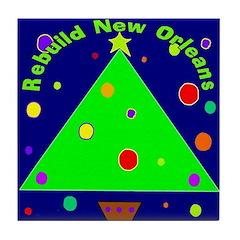 New Orleans Christmas Art Tile Coaster