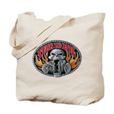 Fear No Evil Skull and Flames Tote Bag