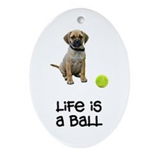 Puggle Life Oval Ornament