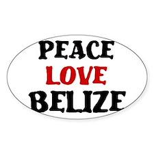 Peace Love Belize Oval Sticker (10 pk)