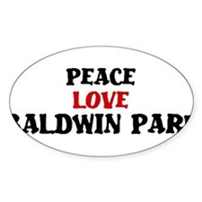 Peace Love Baldwin Park Oval Sticker (10 pk)
