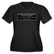 Caution, Stay Back Women's Plus Size V-Neck Dark T