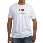 I LOVE GERMAN SHEPHERDS Fitted T-Shirt