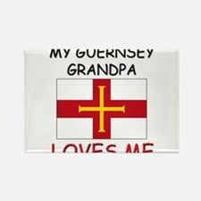 My Guernsey Grandpa Loves Me Rectangle Magnet