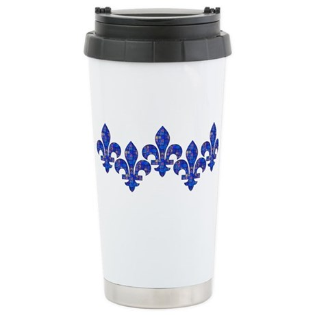 Blue Mosaic Fleur Stainless Steel Travel Mug