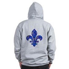 Blue Mosaic Fleur Zip Hoody