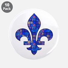 "Blue Mosaic Fleur 3.5"" Button (10 pack)"