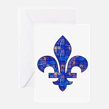 Blue Mosaic Fleur Greeting Card