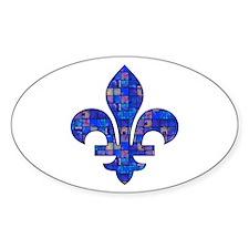 Blue Mosaic Fleur Oval Decal