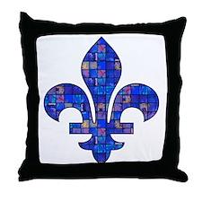 Blue Mosaic Fleur Throw Pillow