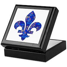 Blue Mosaic Fleur Keepsake Box