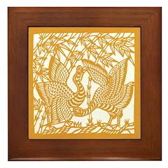 Wild Birds and Bamboo Framed Tile