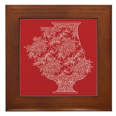 Asian Vase (Red) Framed Tile