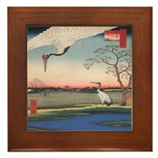 Japanese Cranes Framed Tile