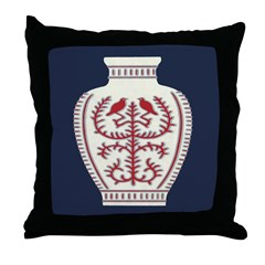 Asian Vase (Blue) Throw Pillow