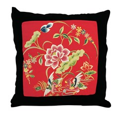 Chinese Floral Throw Pillow