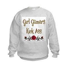Girl Gamers Kick Ass (rose) Geek Kids Sweatshirt