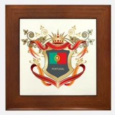 Portuguese flag emblem Framed Tile