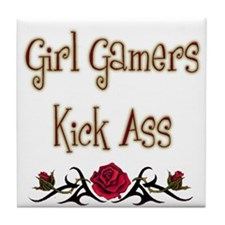 Girl Gamers Kick Ass (rose) Geek Tile Coaster