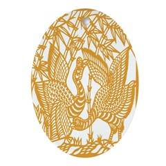 Wild Birds and Bamboo Oval Ornament