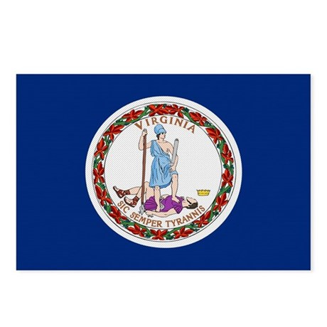 Beloved Virginia Flag Modern Style Postcards (Pack