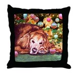Golden Retriever Christmas Throw Pillow
