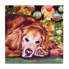 Golden Retriever Christmas Tile Coaster