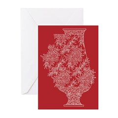 Asian Vase (Red) Greeting Cards (Pk of 10)