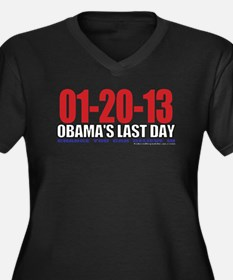 Last Day 1-20-13 Women's Plus Size V-Neck Dark T-S