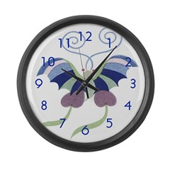 Japanese Butterfly Large Wall Clock