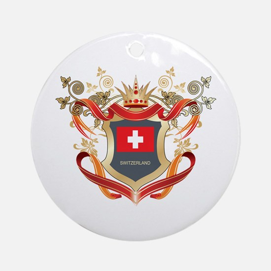 Swiss flag emblem Ornament (Round)