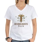 Neurologists Rock Caduceus Women's V-Neck T-Shirt