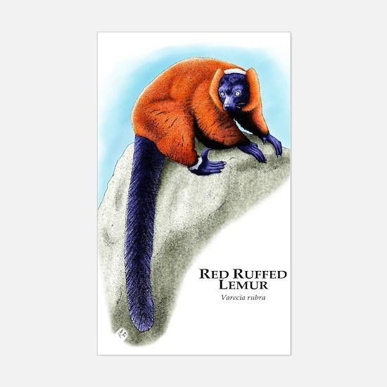 Red Ruffed Lemur Rectangle Decal