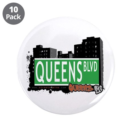 "QUEENS BOULEVARD, QUEENS, NYC 3.5"" Button (10 pack"